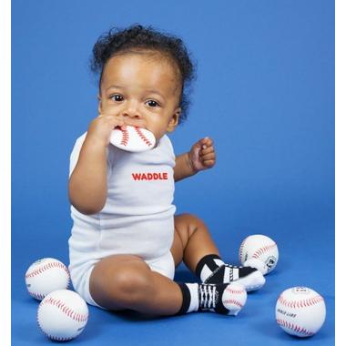Waddle Baseball Rattle Socks & Teether Gift Set