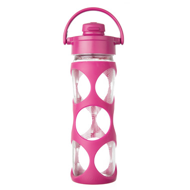 Lifefactory Glass Bottle Hot Pink Flip Cap & Silicone Sleeve