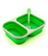 Eco Vessel Collapsible Silicone Double Compartment Food Container Green
