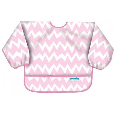 Bumkins Sleeved Bib Pink Chevron