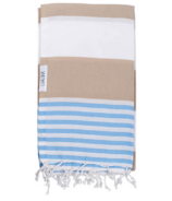 Lualoha Turkish Towel Striped Goodness Sand & Sky Blue