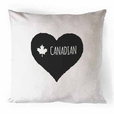 Printing Life Canada Canadian Heart Black Canvas Pillow