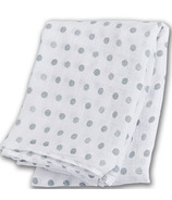 Lulujo Baby Muslin Cotton Swaddling Blanket Grey Polka Dots