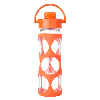 Lifefactory Glass Bottle Bright Orange Flip Cap & Silicone Sleeve