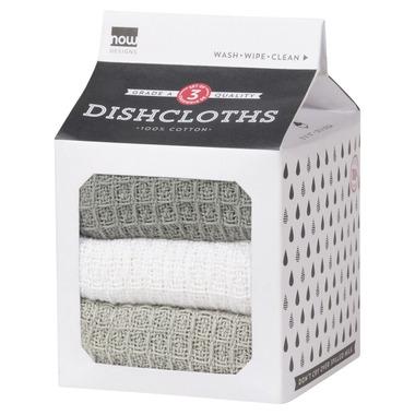 Now Designs Milk Carton Dishcloth Set London, White & Grey