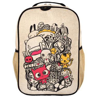 SoYoung x Pixopop Raw Linen Pishi and Friends Grade School Backpack