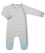 Kushies Side Zip Sleeper Light Grey Stripes & Blue
