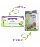 Aleva Naturals Bamboo Size NB Diaper and Wipes Bundle