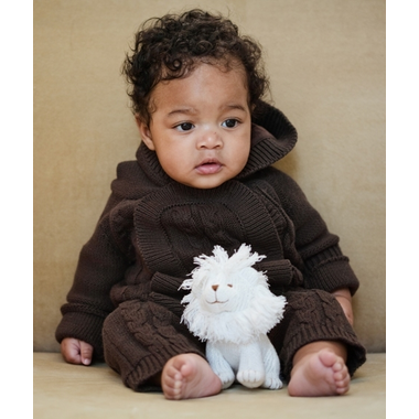 Beba Bean Ivory Knit Lion Rattle