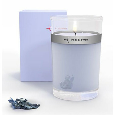 Red Flower Icelandic Moonflower Petal Topped Candle