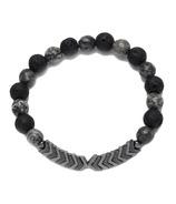Oriwest Chevron Hematite Lava Bead Bracelet