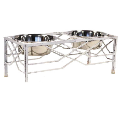 Robely Heavy Wrought Iron Elevated Double Pet Feeder