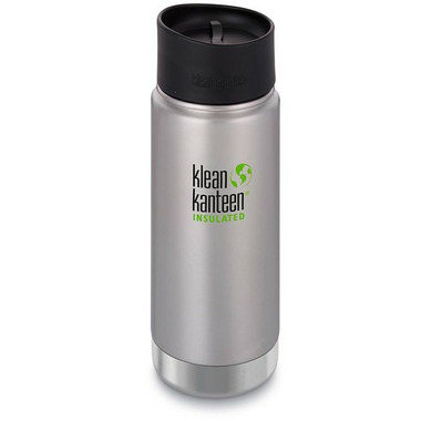 Klean Kanteen Insulated Wide Bottle with Cafe Cap 2.0 Brushed Stainless
