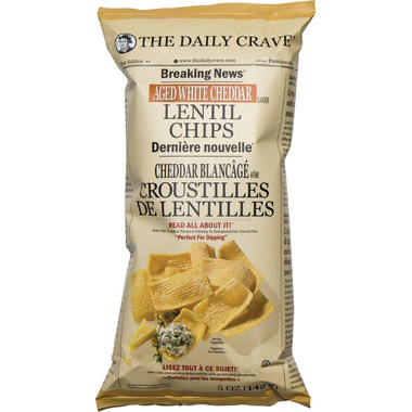 The Daily Crave Lentil Chips Aged White Cheddar