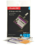 Swingline GBC ID Badge with Clip SelfSeal Laminating Pouches