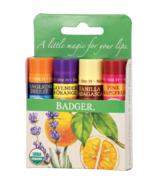 Badger Balm Classic Lip Balm 4 Pack