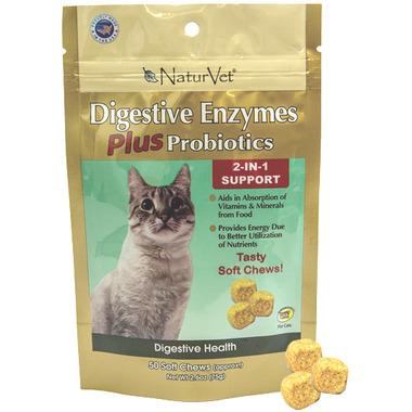 Naturvet Digestive Enzymes Plus Probiotics Cat Soft Chews