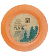 EcoSouLife Biodegradable Bamboo Dinner Plate in Orange