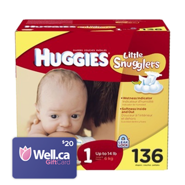 Huggies Little Snugglers Hi Count Junior + Well.ca $20 Gift Card
