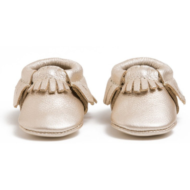 Freshly Picked Newborn Moccasins Platinum
