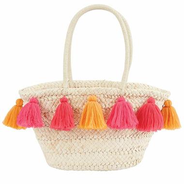 Mud Pie Pink & Orange Tassel Straw Tote Bag