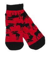 Little Blue House Women's Ankle Socks Moose On Red