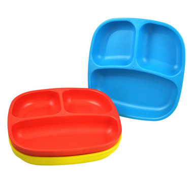 Re-Play Divided Plates Primary Red, Sky Blue and Yellow