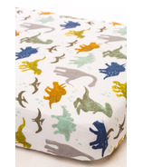 Little Unicorn Cotton Muslin Fitted Sheet Dino Friends