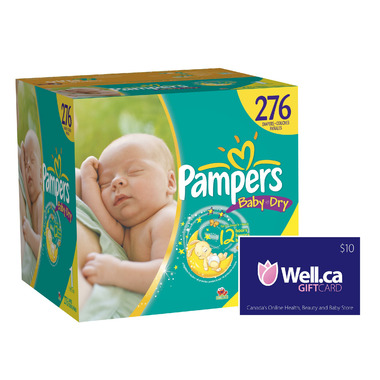 Pampers Baby Dry - Largest Box + Well.ca $10 Gift Card