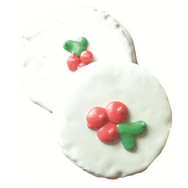 Buster\'s Best Round Decorated Holiday Holly Dog Cookies
