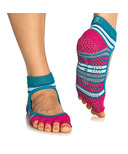 Gaiam Mary Jane No-Slip Yoga Sock Size S/M in Teal & Fucshia
