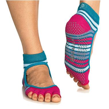 Gaiam Mary Jane No-Slip Yoga Sock Size S/M in Teal & Fucshia