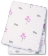 Lulujo Baby Muslin Cotton Swaddling Blanket Pink Hippos