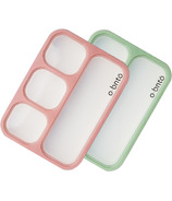 o bnto Bento Box 4 Compartment Moss Green and Pink Blush Value Pack