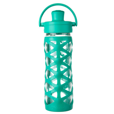 Lifefactory Glass Bottle with Active Flip Cap & Aqua Green Silicone Sleeve