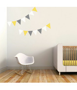 Trendy Peas Wall Decals Pennants White, Yellow & Grey