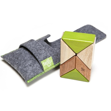 Tegu Pocket Pouch Prism Magnetic Wooden Block Set Jungle