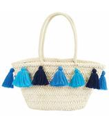 Mud Pie Blue Tassel Straw Tote Bag