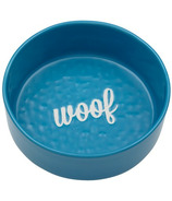 Ore' Pet Etched Woof Bowl Blue