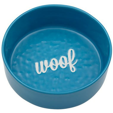 Ore\' Pet Etched Woof Bowl Blue