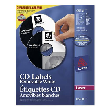 Avery CD/DVD White Removable Laser Labels
