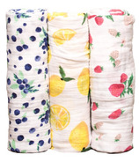 Little Unicorn Cotton Muslin Swaddle Set Berry Lemonade