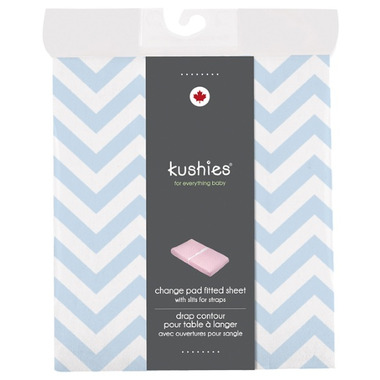 Kushies Flannel Change Pad Fitted Sheet Chevron Blue
