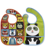 Crocodile Creek Bibs 2 Go with Pouch Jungle Jamboree
