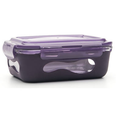 U-Konserve Glass Food Container with Silicone Sleeve in Eggplant