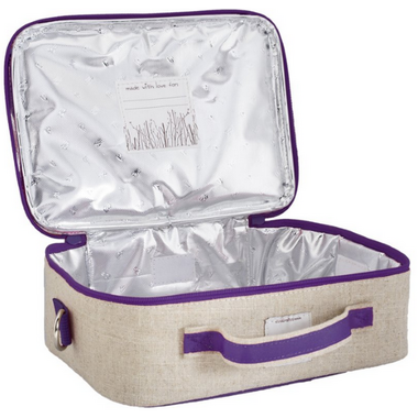 SoYoung Raw Linen Purple Dandelion Lunch Box