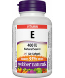 Webber Naturals Natural Source Vitamin E Softgels Bonus Size