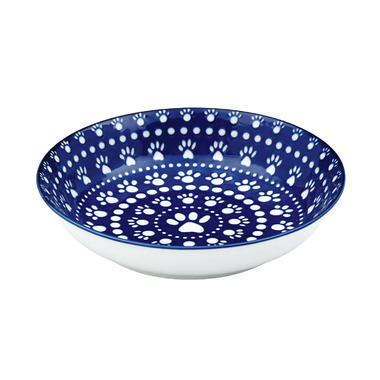 Ore Pet Speckle & Spot Shallow Bowl in Bandana Blue