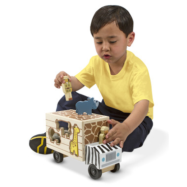 Melissa & Doug Animal Rescue Shape-Sorting Wooden Truck Toy