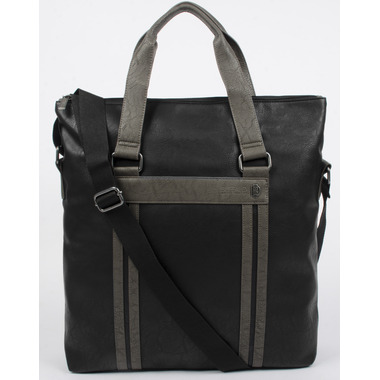 Buffalo David Bitton Melvin Fold Over Tote in Black & Grey